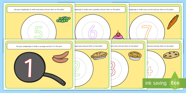 Food Counting Playdough Mats - fine motor skills, eating, health