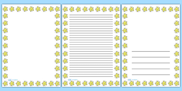 Smiley Star Portrait Page Borders Portrait Page Borders  Page