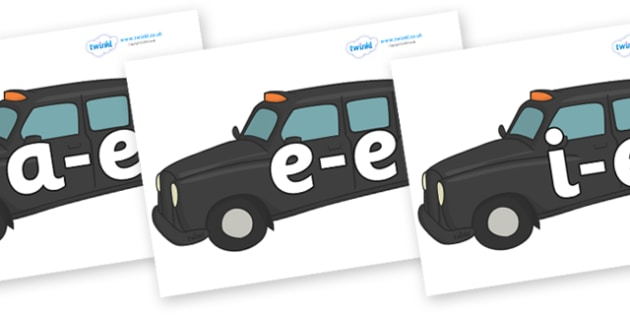 Modifying E Letters on Taxis - Modifying E, letters, modify, Phase 5, Phase five, alternative spellings for phonemes, DfES letters and Sounds