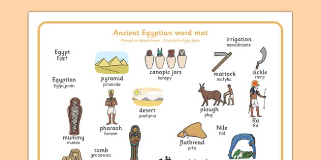 Ancient Egyptian Word Mat Polish Translation - polish, Ancient Egyptian, history, Egyptians, word mat, writing aid, mat, Egypt, pyramids, Pharaoh, hieroglyphics, hieroglyphs, Tutankhamun, Giza, Dahshur, Mummy