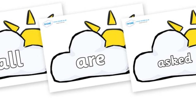 Tricky Words on Weather Symbols (Cloud & Sun) - Tricky words, DfES Letters and Sounds, Letters and sounds, display, words
