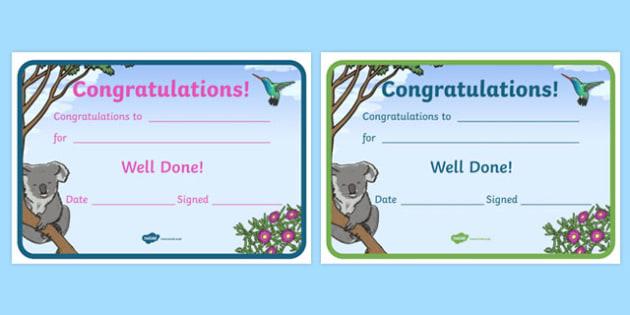 Koala Themed Certificates - koala, certificates, awards, rewards, praise
