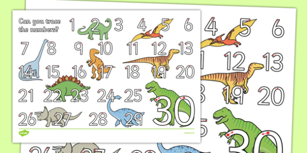 Dinosaur Themed Number Formation 1-30 Activity Sheet - dinosaur, number formation, 1-30, activity sheet, worksheet, overwriting