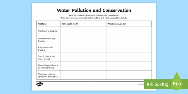 water pollution and conservation problems activity sheet water. Black Bedroom Furniture Sets. Home Design Ideas