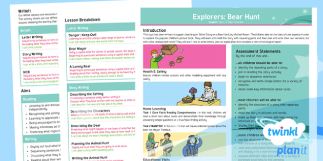 Explorers: Bear Hunt Y1 Overview To Support Teaching on 'We're Going on a Bear Hunt'  - Repeating parts, animals, Helen Oxenbury, Jill murphy, Julia Donaldson