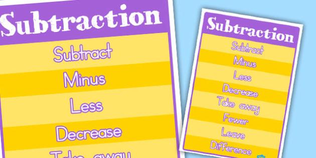Subtraction Vocabulary Poster - australia, subtraction, vocabulary, poster
