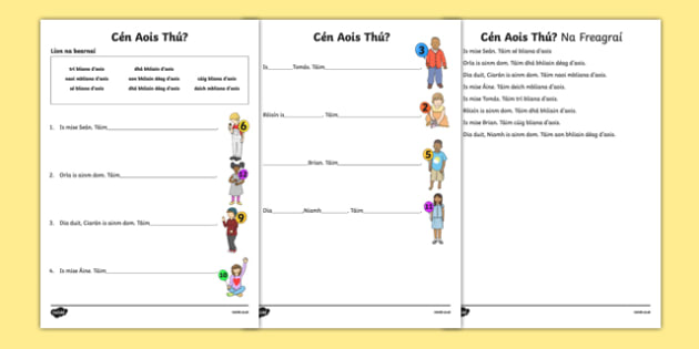 Cén Aois Thú? Activity Sheet - Irish, worksheet
