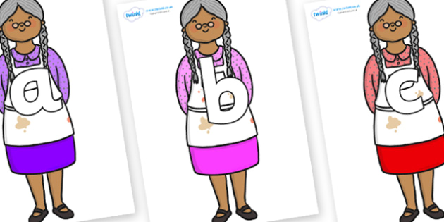 Phoneme Set on Little Old Woman - Phoneme set, phonemes, phoneme, Letters and Sounds, DfES, display, Phase 1, Phase 2, Phase 3, Phase 5, Foundation, Literacy