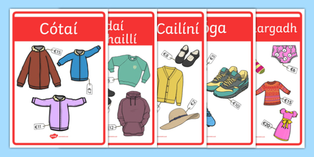 Clothes Shop Role-Play Posters Gaeilge - Irish, Gaeilge, role play, clothes, clothes shop, eadai, éadaí, an siopa éadaí, resource pack, clothes shop posters
