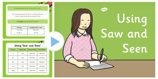 Using 'Saw' and 'Seen' PowerPoint - saw, seen, powerpoint, using