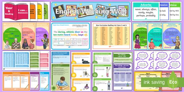 Y5/6 English Working Wall Display Pack - Literacy, Y5, Y6, KS2, UKS2, Writing, complete display, full display, learning prompts