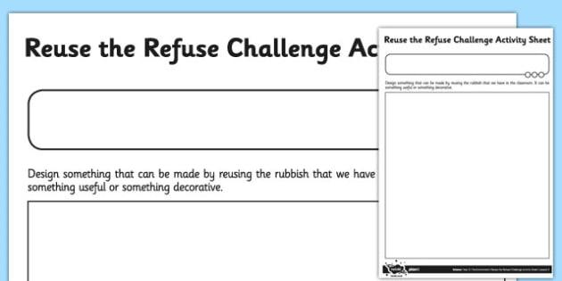 Reuse the Refuse Challenge Worksheet - reuse, refuse, challenge, worksheet