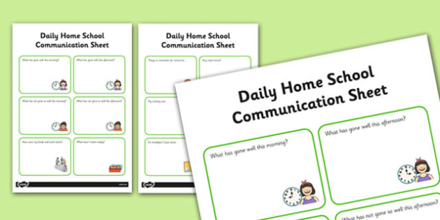 Daily Home School Communication Sheet Primary - Home, School, Communciation, SEN, Special, Educational, Needs, Additional, Transition, Parents, Carers