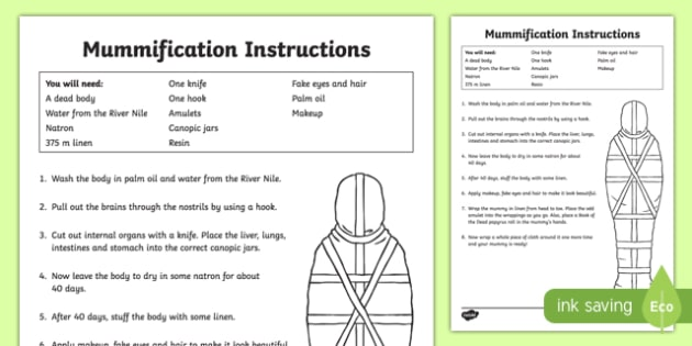 Egyptians Mummification Instructions Reference Sheet - ancient egypt, egyptian traditions, mummification, how to make a mummy, mummification instructions, ks2 history