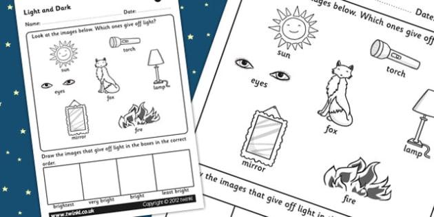 Light and Dark Worksheet - light and dark, sources of light, sources of light worksheet, light sources, different sources of light, ks2 science worksheet