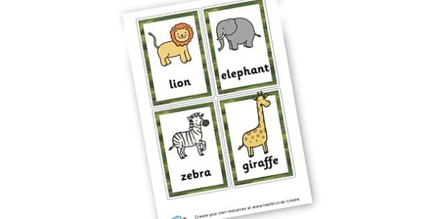Safari Animals Cards - On Safari Literacy Primary Resources, Safari,  Literacy,  Words