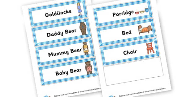 Goldilocks Cards - Goldilocks and the Three Bears Literacy Primary Resources -  Prim