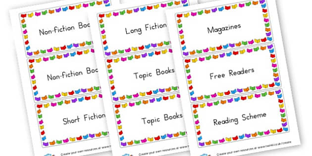 Reading Corner - Classroom Labels Primary Resources, book label, resource label