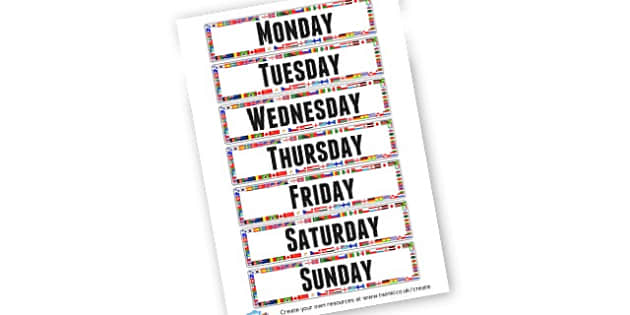 Days of the Week Cards - Flags Border - Display, Days of the Week, 2D Shapes, Display, 2D Shape Primary R
