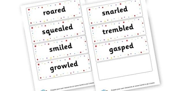 Talking Verbs - Verb Primary Resources, verbs, noun, adjective, wow, keywords