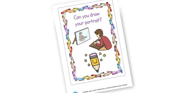 Can you draw your portrait? - display lettering - Art and Design Primary Resources, primary, colour, creative