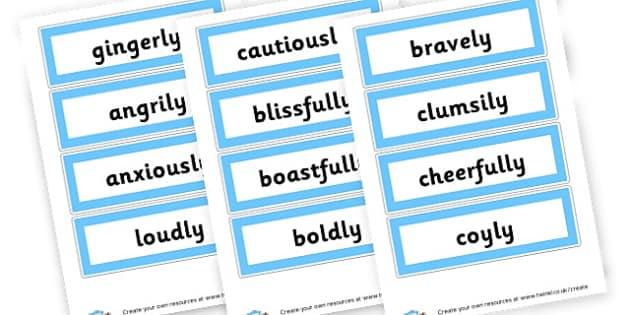 Adverbs - Verb Primary Resources, verbs, noun, adjective, wow, keywords