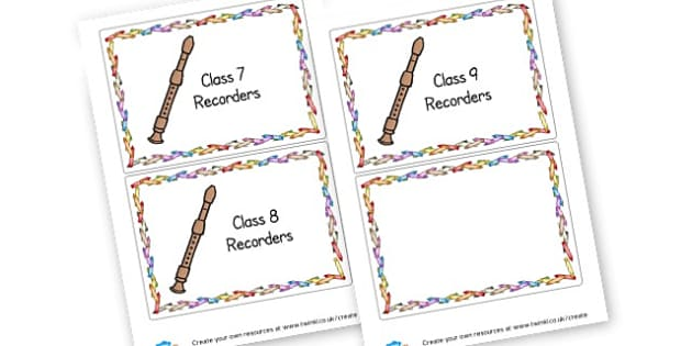 Recorder labels - display lettering - Music Classroom Signs and Labels Primary Resources -  Primary Res