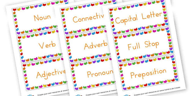 SPAG Labels - SPaG Primary Resources, Spelling, Punctuation, Grammar, Literacy