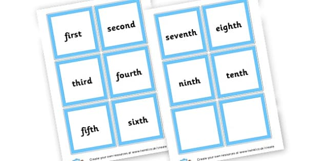 ordinal words - Ordinal Numbers Primary Resources, ordering, numeracy, activities