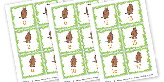 Gruffalo Number Cards to 50 - The Gruffalo Primary Resources, Julia Donaldson, storybook, mouse, grufalo