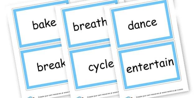 Verbs Cards - Verb Primary Resources, verbs, noun, adjective, wow, keywords
