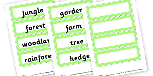 Habitats on/in Greenery Word Cards - Habitats & Environments Primary Resources, Habitats, Environments