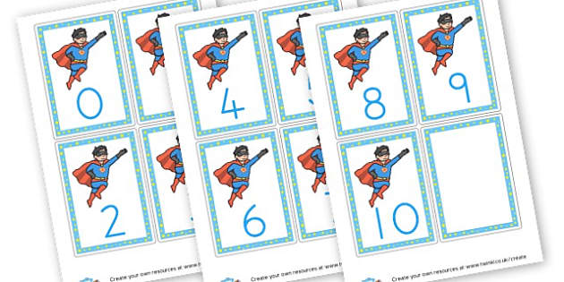 Superhero  Number Flashcards - Superheroes Numeracy Primary Resources,  Superheroes, Numeracy