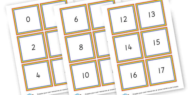 1-20 Number Cards - Number Display Primary Resources, maths, math, numeracy, counting