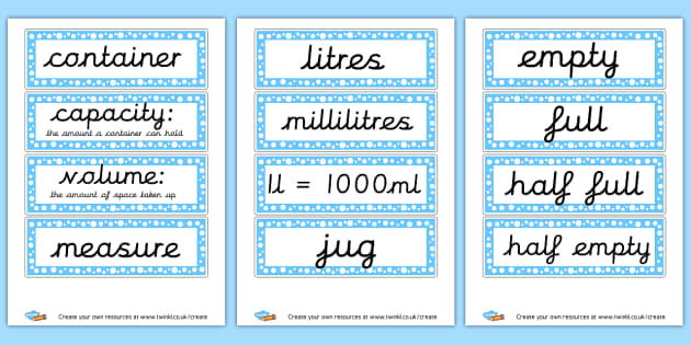 Capacity Vocab - display lettering - KS2 Length Mass and Capacity Primary Resources, Shapes, Length