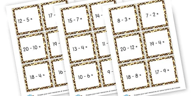 Subtraction Under 20 Cards KS1 Yr 1 - Subtraction Primary Resources, minus, less, activities, calculate