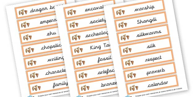 Shang Dynasty of China Vocab Cards - The Shang Dynasty Literacy Primary Resources - History The Shang