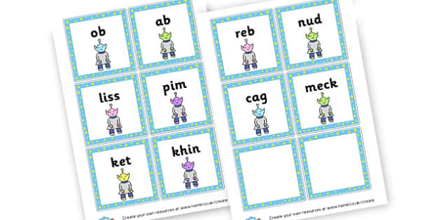 Phase 2 Nonsense Words Flashcards - DFE Letters and Sounds Phonics Screening Check Primary Resources