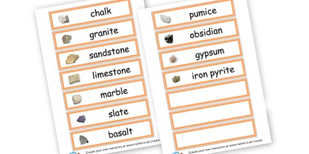 Rocks Word Cards - Rocks, Earth & Soil Primary Resources, rock, mountain, volcano