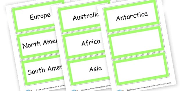 7 Continents - Geography Keywords Primary Resources, map, city, sights, country