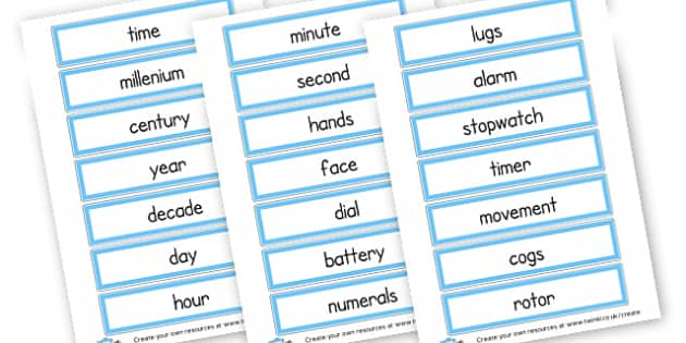Time words Cards - time, resource, Home School, alphabet, literacy, numeracy, a-z