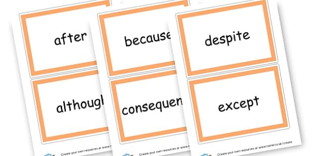 Conjunctions Cards - Connectives, cll, connective, cohesive device