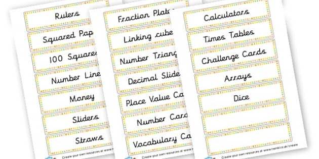 Maths Tray Labels - Drawer & Peg Name Labels Primary Resources, Name Label, Label, Peg