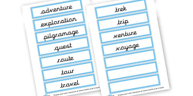 Journey vocabulary Cards - Transport Primary Resources, travel, bus, car, bike, plane, taxi