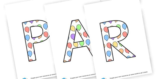 Party lettering - display lettering - Display Lettering Primary Resources, cut out, letters, display