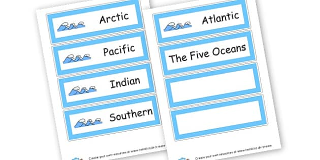 Oceans of the World Name Cards - Locational Knowledge Continents and Oceans Primary Resources - KS