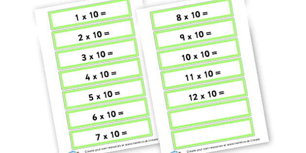 10 Times Table Cards