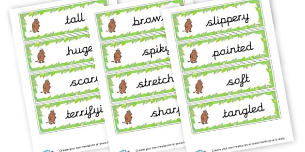 The Gruffalo Adjective Cards. - The Gruffalo Primary Resources, Julia Donaldson, story sack, mouse, grufalo