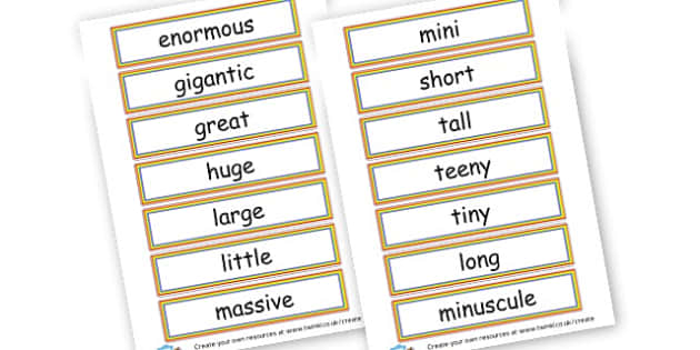 Size Adjective Cards - Measuring, Size & Weight Primary Resources, shapes, shape, space
