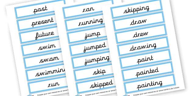 Verb Tenses Cards - KS2 Verbs and Adverbs Primary Resources, Verbs, Adverbs, KS2 Words